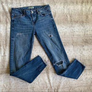 Zara Distressed Raw Hem Skinny Jeans